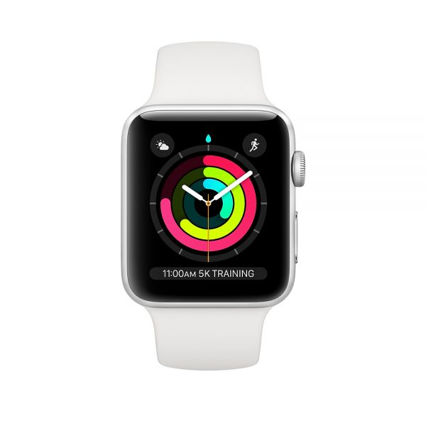 Watch Series 3 42mm Silver Aluminium Case with White Sport Band (front)