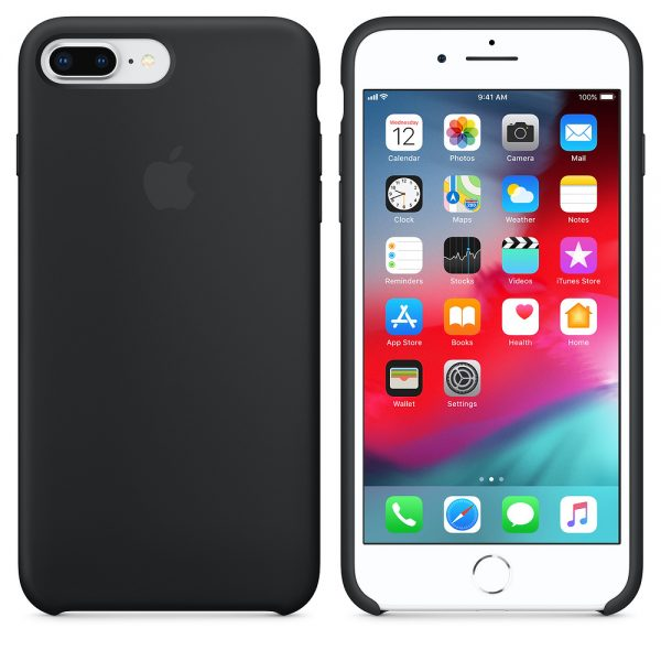 iPhone 8 Plus Silicone Case Black back and front