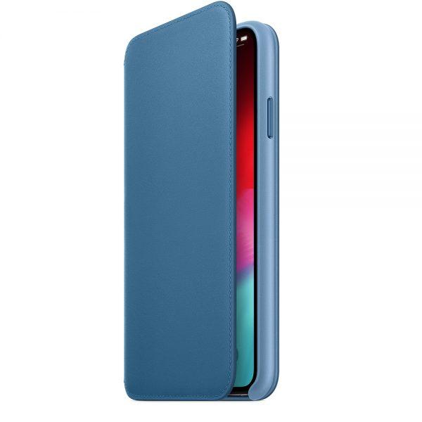 iPhone Xs Max Leather Folio Cape Cod Blue open