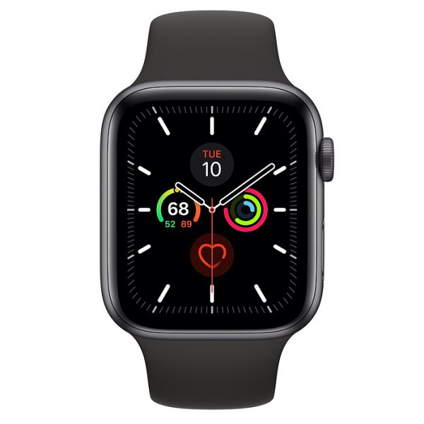 Watch Series 5 44mm Space Gray Aluminium Case with Black Sport Band (front)