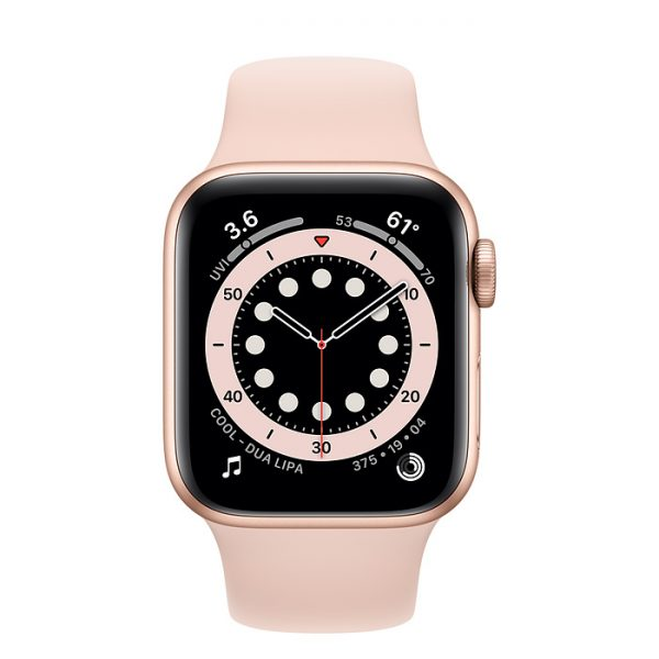 Watch SE 44mm Gold Aluminium Case with Pink Rose Sport Band (front)