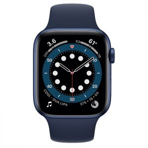 Watch Series 6 44mm Blue Aluminium Case with Deep Navy Sport Band (front)