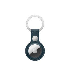 Apple porta‑chaves em pele para AirTag - Azul Báltico