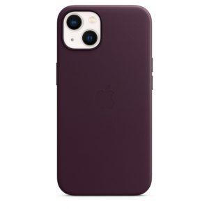 Capa em pele com MagSafe para iPhone 13 - Cereja escura